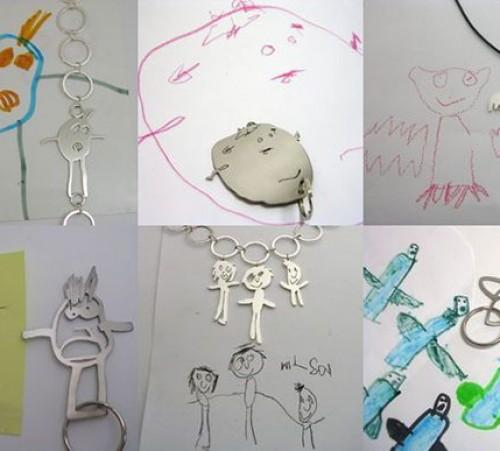 tekening, knutsel, knutselwerk, kind, baby, tekenen, bewaren, opbergen, kunstwerken, vereeuwigen, sierraad, ketting, armband, bedel, bedelarmband, sleutelhanger, hanger, zilver, goud, titanium, Mia van beek, formia design, schakel, moeder, vader, cadeau,