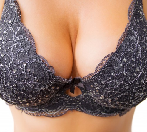 Big breasts in black bra