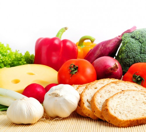 Assorted healthy food on white background, close up