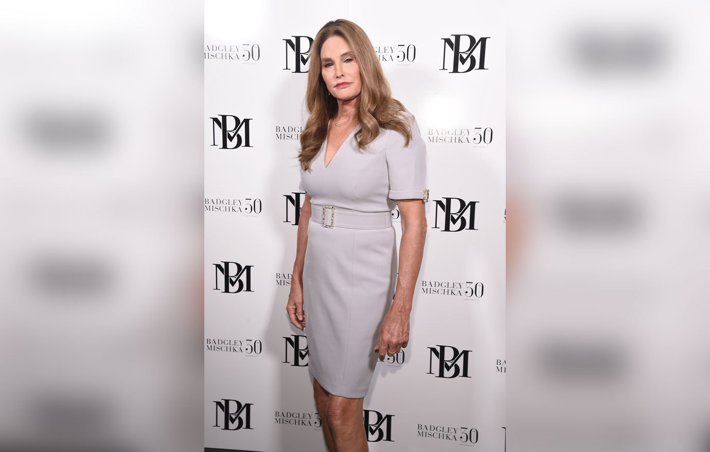 NEW YORK, NY - SEPTEMBER 08: Caitlyn Jenner poses backstage at the Badgley-Mischka Fashion Show during New York Fashion Week at Gallery I at Spring Studios on September 8, 2018 in New York City. (Photo by Gary Gershoff/WireImage)