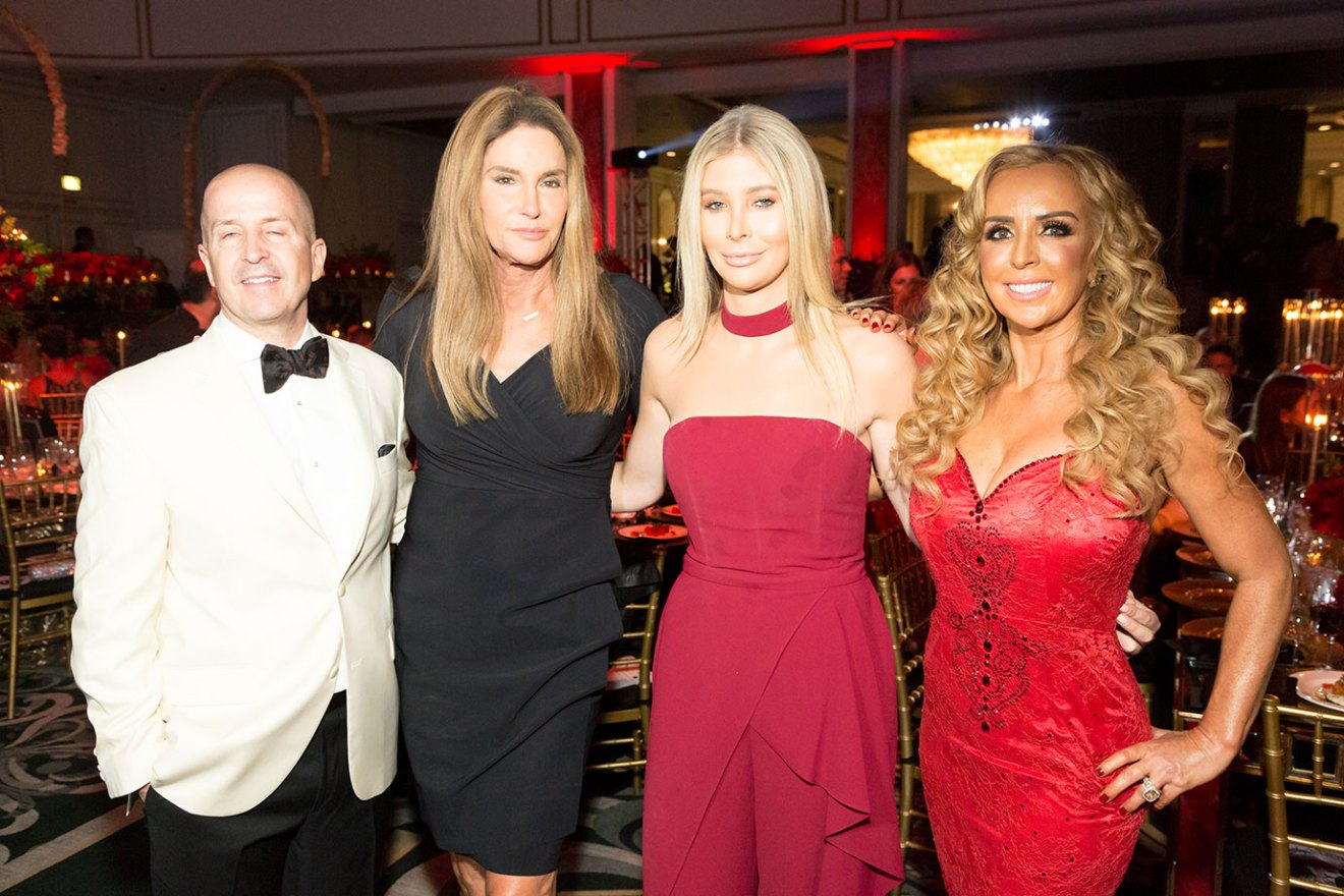 """BEVERLY HILLS, CALIFORNIA - SEPTEMBER 22: (L-R) Dr. David Alessi, Caitlyn Jenner, Sophia Hutchins and Deborah Alessi attend the Face Forward's 10th Annual """"La Dolce Vita"""" Themed Gala at the Beverly Wilshire Four Seasons Hotel on September 22, 2018 in Beverly Hills, California. (Photo by Greg Doherty/Getty Images)"""