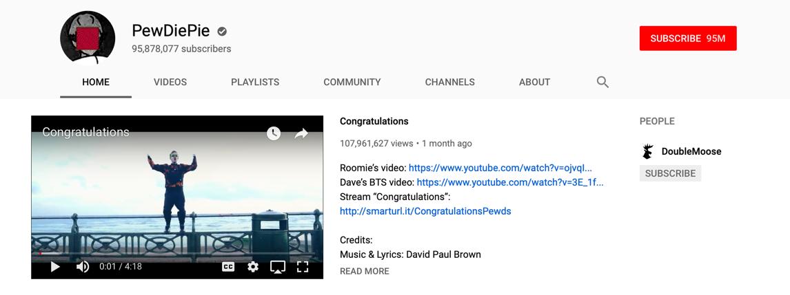 Pewdiepie hefur 95 milljónir áskrifenda á YouTube