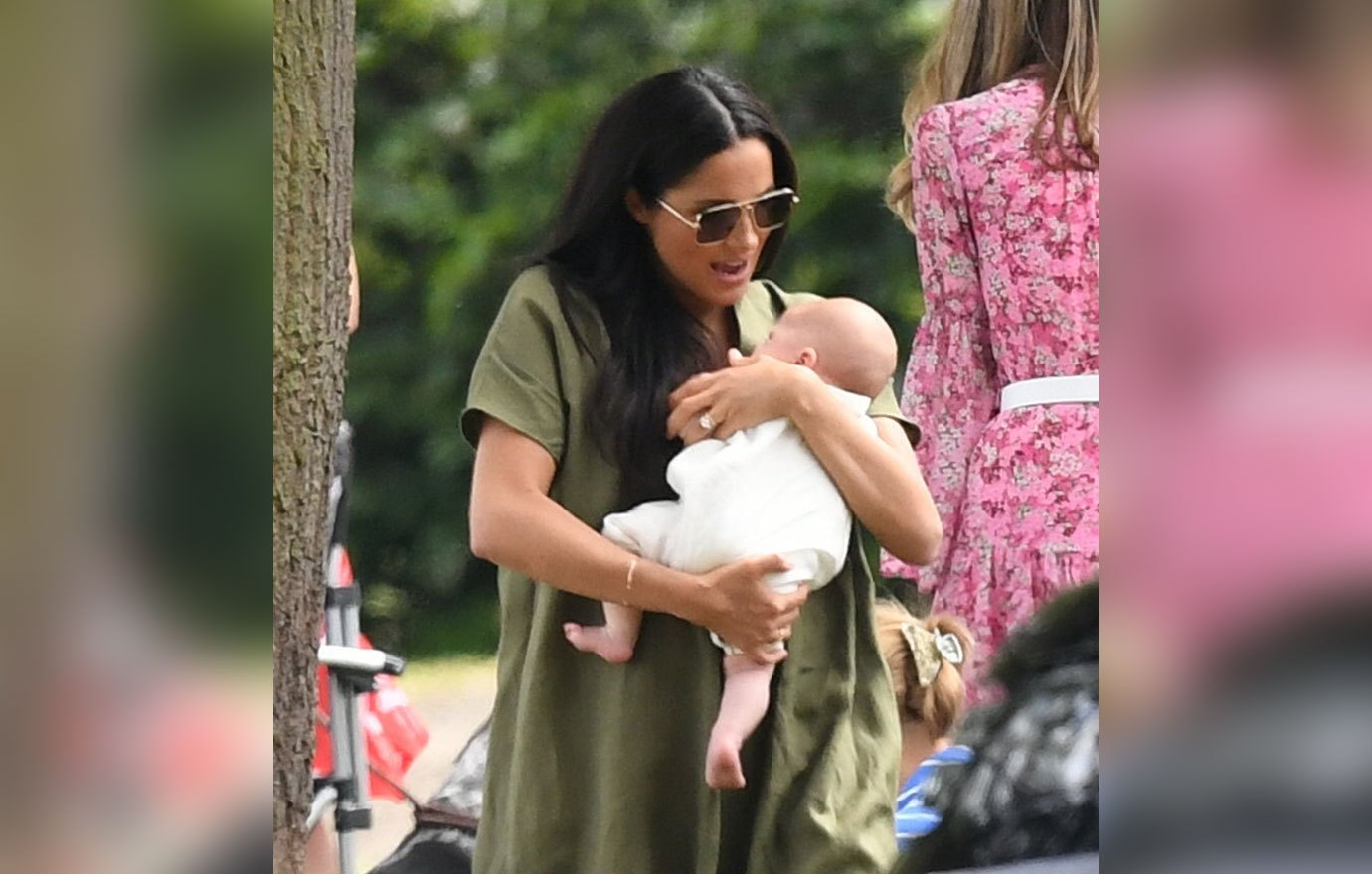 Meghan Markle The Duchess of Sussex with her newborn son Archie and Kate Middleton the Duchess of Cambridge seen watching Prince William and husband Prince Harry play in the King Power Royal Charity Polo Day