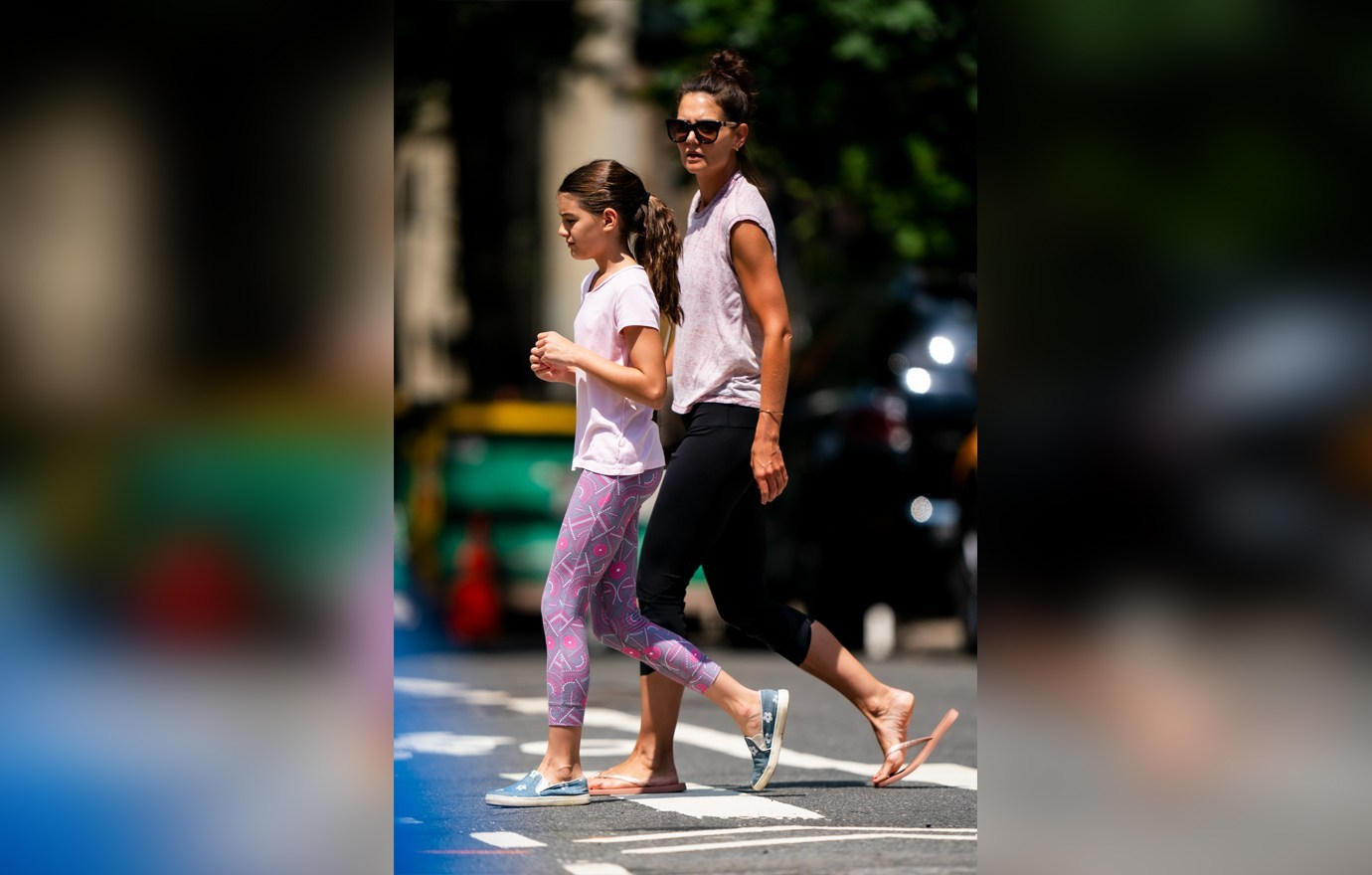 NEW YORK, NEW YORK - JULY 22: Suri Cruise (L) and Katie Holmes are seen in the Upper West Side on July 22, 2019 in New York City. (Photo by Gotham/GC Images)