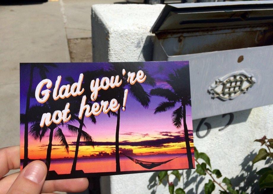 Fallegt póstkort frá fyrrverandi í fríi